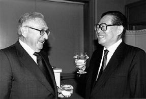 Henry Kissinger, a Western powerbroker with extensive ties to the Dark elite meets with former Chinese Premier Jiang Zamin their most recent meeting was in 2013.