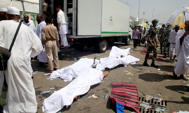 The bodies of dead pilgrims await removal in Mina following the Hajj catastrophe.