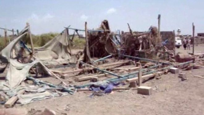 Aftermath of the Ta'iz Wedding party massacre, this appears to be one of the two Wedding tents that were attacked.