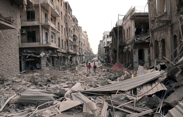 Destruction in Aleppo late 2012.