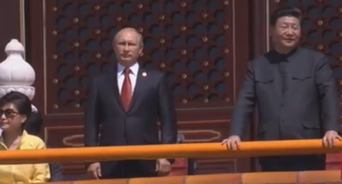 Russian President Putin alongside Chinese leader Xi Jinping at China;s Victory Day celebration.