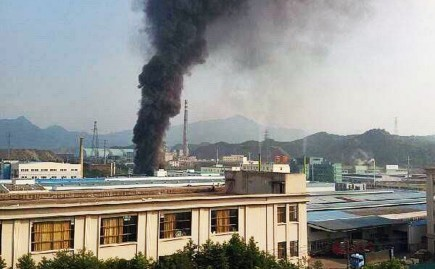 Zheijang chemical plant burns after explosion September 7th, 2015.