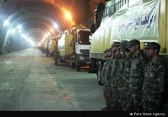 Interior of the cavernous Iranian Undergrounds Ballistic Missile base 500 metres under a mountain.
