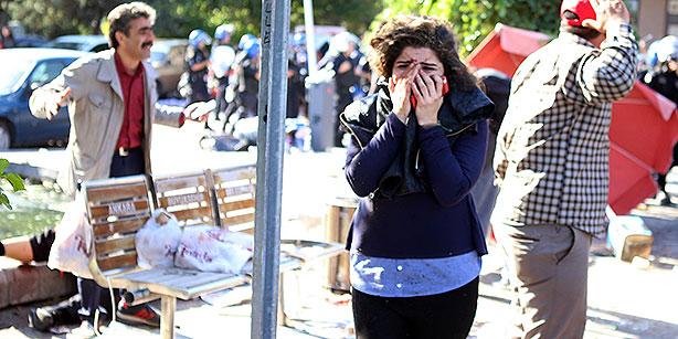 A shocked survicior of the massacre in Ankara on October 10th, 2015. (AP)