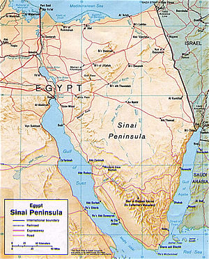 Map of the Sinai region of Northern Egypt.