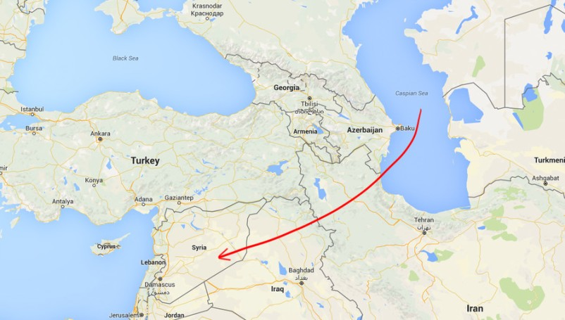 Map shows the position of the Caspain and Black Sea to Syria and charts the trajectory of the Russian missile attacks launched from the Caspian.