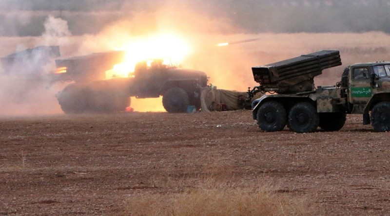 The Syrian Army Launch a rocket barrage in Hama at the start of their ground offensive, October 7th, 2015.