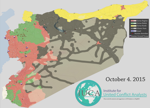 Map of Syrian military situation, October 2015.