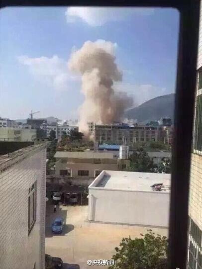 The massive cloud created by the blast in Liuzhou city yesterday from another angle. It must have been a big parcel.