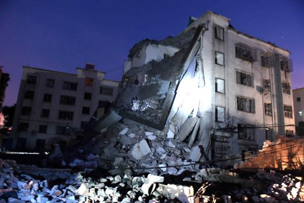 Damaged building in aftermath of parcel bomb, Guangxi, China, September 30th, 2015.