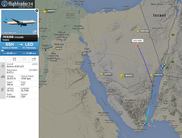 Flight Radar image of the Sinai Peninsual at the time the Metrojet flight was destroyed.