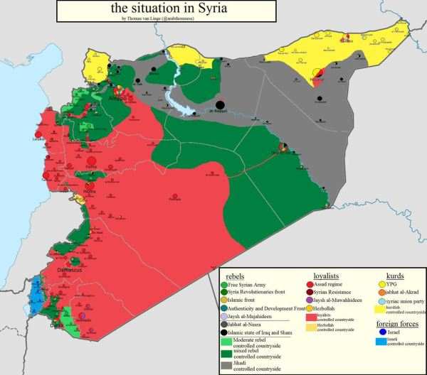 Map of the areas of control in Syria at the start of 2014.