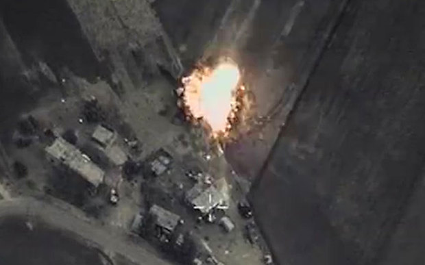 Still from video of Russian ari strike on Syria.