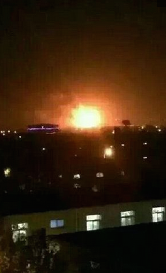 Vision of the fresh blast in Tianjin from the twitter feed of Chinese state television.