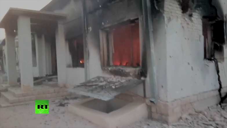 The MSF hospital in Kunduz burns the day after the USAF destroyed it.