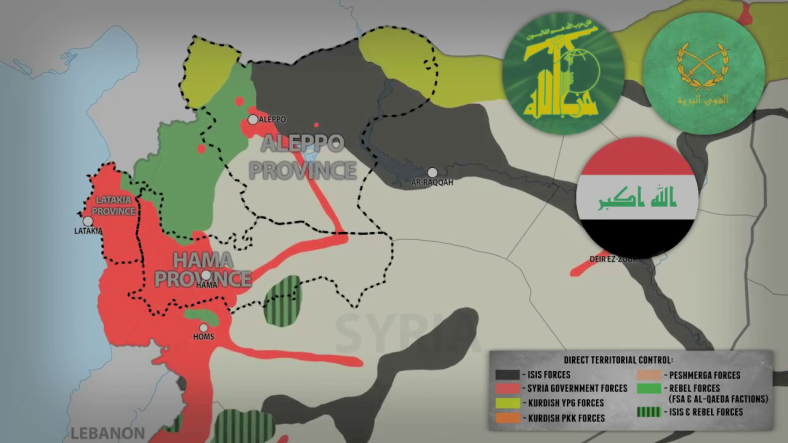 South Front video still shows the majorarea of the offensive in Latakia, Homs/Hama and Aleppo.