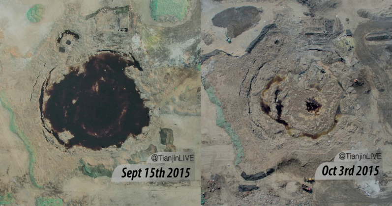 Photgraph shows the crater before and after being drained and filled in.
