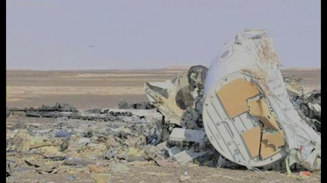 Debris of Metrojet Flight 7K9268 on the ground in Sinai, Egypt, October 31st, 2015.