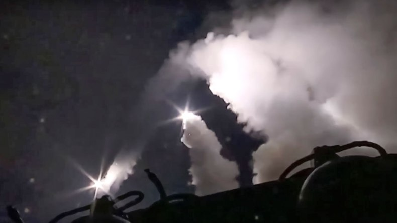 A Russian Naval vessel launches cruise missiles from the Caspian Sea towards Syria on October 7th, 2015.