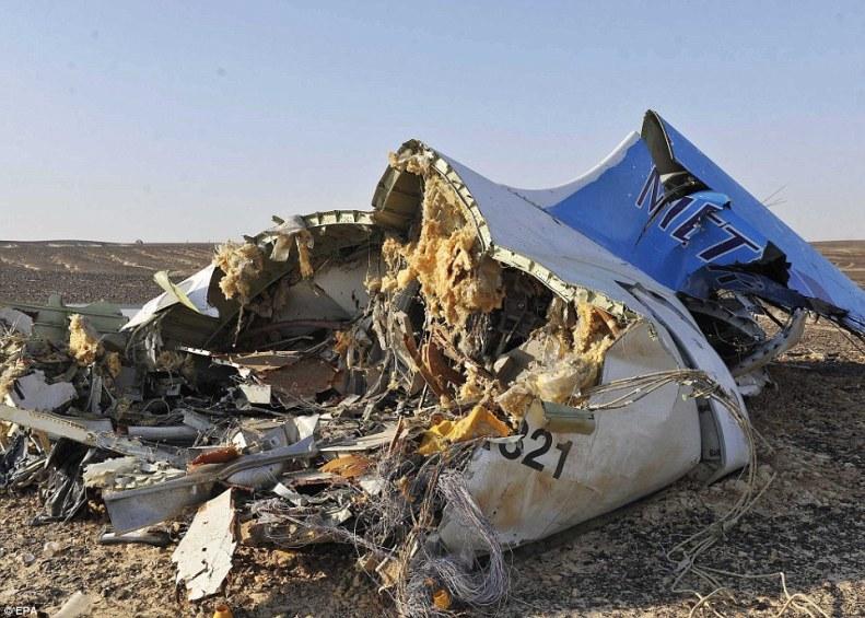 Debris of Metrojet Flight 7K9268 on the ground in Sinai, Egypt, October 31st, 2015.