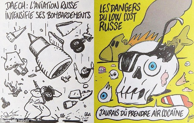 The two Charlie Hebdo cartoons satirising the MetroJet disaster.