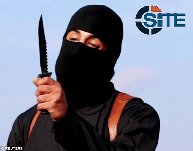 The Jihad John character rants during a fake execution video alongside the ubiquitous SITE intelligence logo.