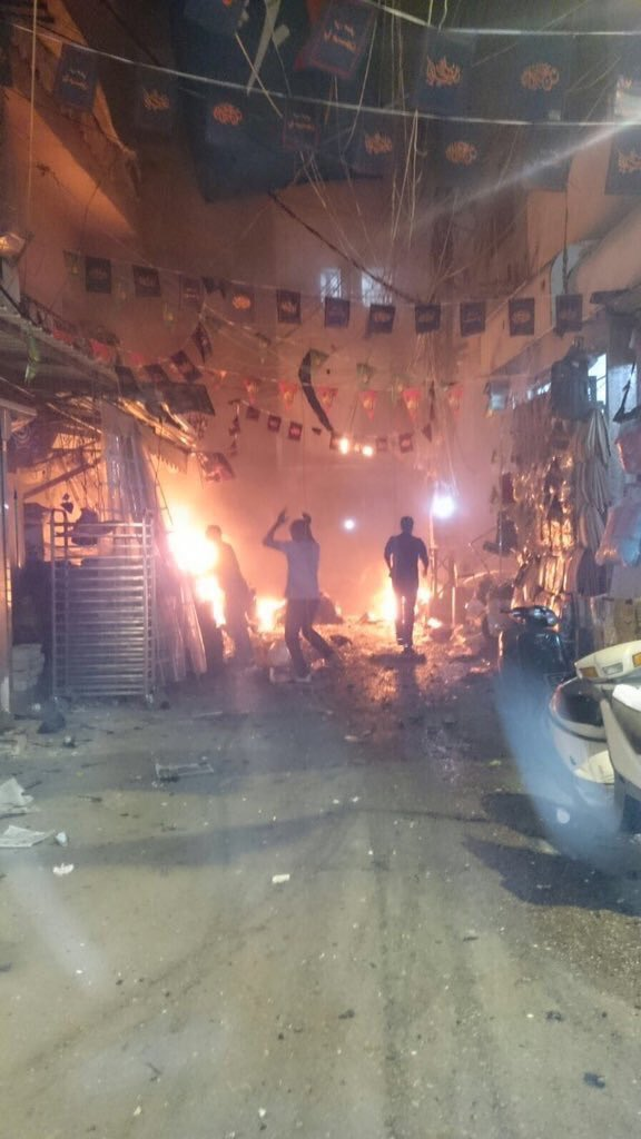 Aftermath of twin bomb attacks that left at least 36 dead in South Beirut Hezbollah stronghold.