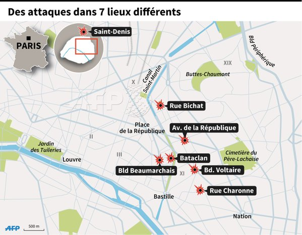Graphic depicts the sites of the multiple terror attacks in Paris on Friday 13th, 2015.