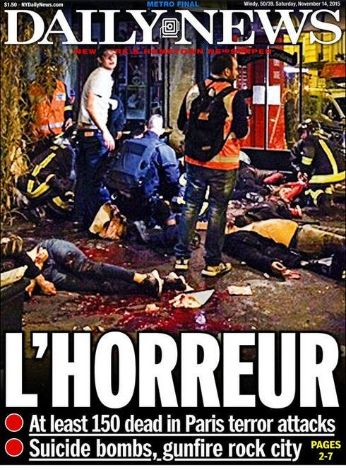 Graphic image of the horror in Paris from the front page of the French language Daily News.