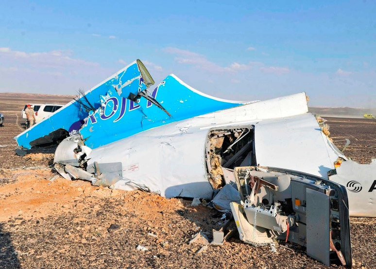 The remnants of Metro-jet Flight 7K9268 in the Egyptian Sinai.October 31st, 2015.