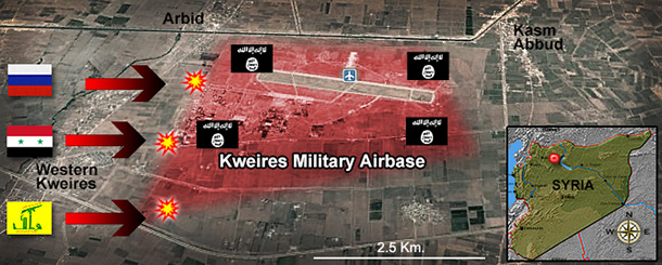 Graphic depicts the situation at kwieres dair base.