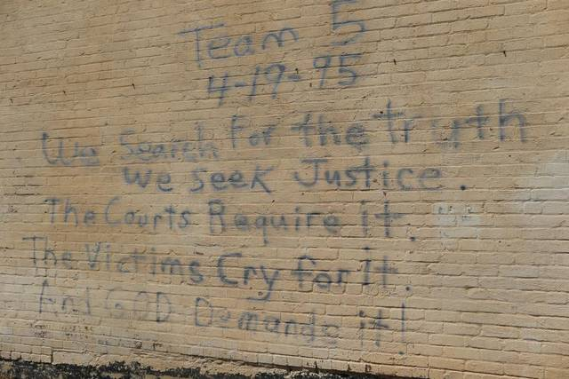 Strange and prophetic message on a wall in downtown Oklahom, April 1995.