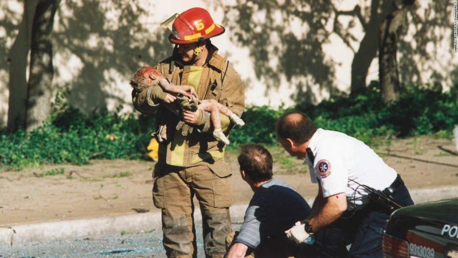 Classic image of the rescue effort in Oklahoma City, 1995.