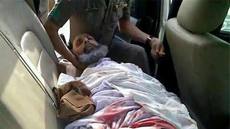 Sheikh Nimr after being forced from the road and shot by Saudi security forces in July 2012.
