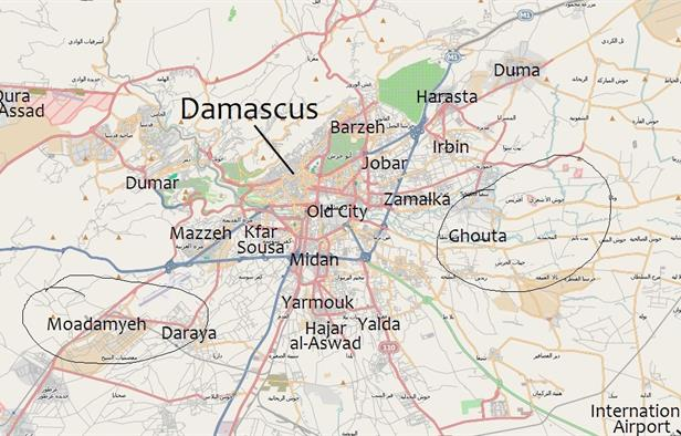 Map of Greater Damascus, Jaish al Islam have controlled a broad swathe to the east of the city for several years.