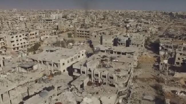 Massive destruction, Jobar East of Damascus is a surreal sight after four years of war.