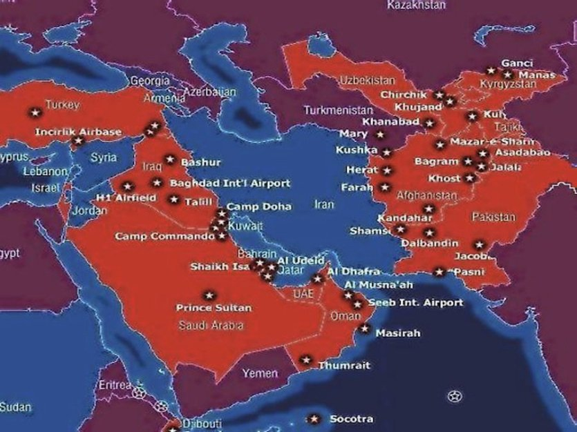 The location of US bases in the Middle East. These bases mean that war between Iran and Saudi Arabia is beyond unlikely.
