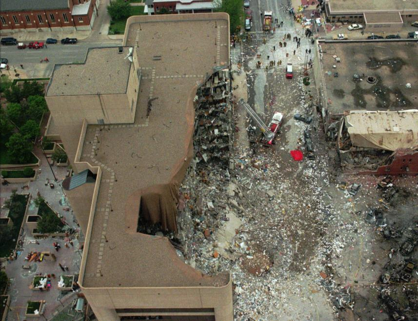 The Alfred Murrah Federal Building in downtown Oklahoma City after a car bomb ripped through it Wednesday, April 19, 1995. (AP Photo)