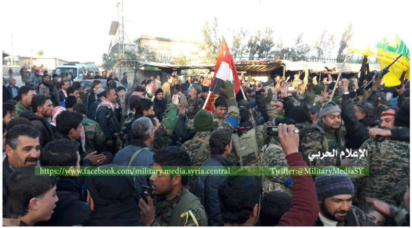 Citizens of Zahra in Aleppo province celebrate the breaking of the 40 month siege after the Syrian Army and Hezbollah entered the town this week.