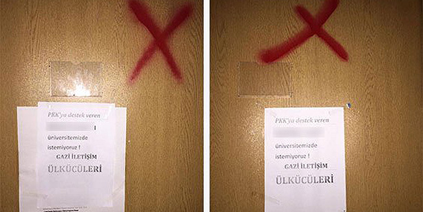 Threats abd red crosses on the doors of Academics who signed the anti-war petition.