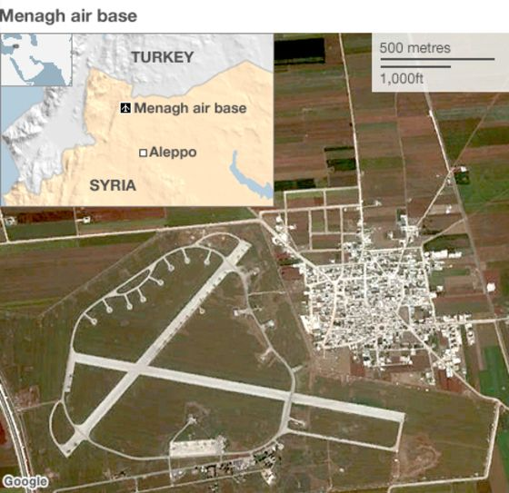 BBC map shos Menagh airbase with inset of Turkish Syrian border.