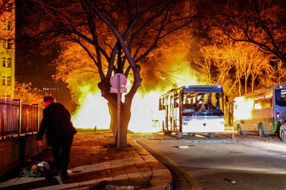 Army service buses burn after an explosion in Ankara, Turkey, Feb. 17, 2016. Defne Karadeniz—Getty Images