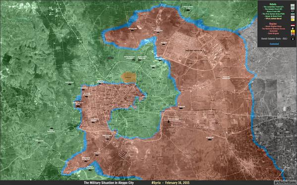 This map shows the overall situation in Aleppo provicne withthe insyrgent area of control in Eastern Aleppo city almost completely surrounded and cut off. If this is achieved the war may be almost over in Northern Syria. Without some kind of political settlement insurgency will continue indefinitely as in Iraq.