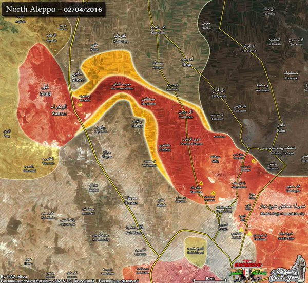 This map gives some idea of the importance of the recent Syiran breakthroughs in Aleppo. The reddish coloured strip in the middle has cut the insurgents in Aleppo into two pockets north and south of the Syrian area of control.