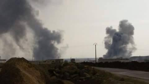 The aftermath of Turkish artillery barrage in the vicinity of the Menagh Airbase, February 13th, 2016.