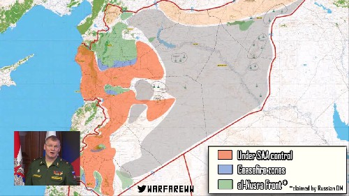 This is a provisional map of the ceasefire areas. The orange areas are government controlled. The green areas are under juhadist control and the ceasefire areas are in blue.