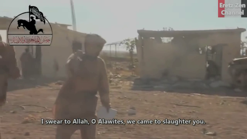 "Abu Jandal al Masri threatens to ""kill all the Alawites"" at Menagh Airbase in 2013."