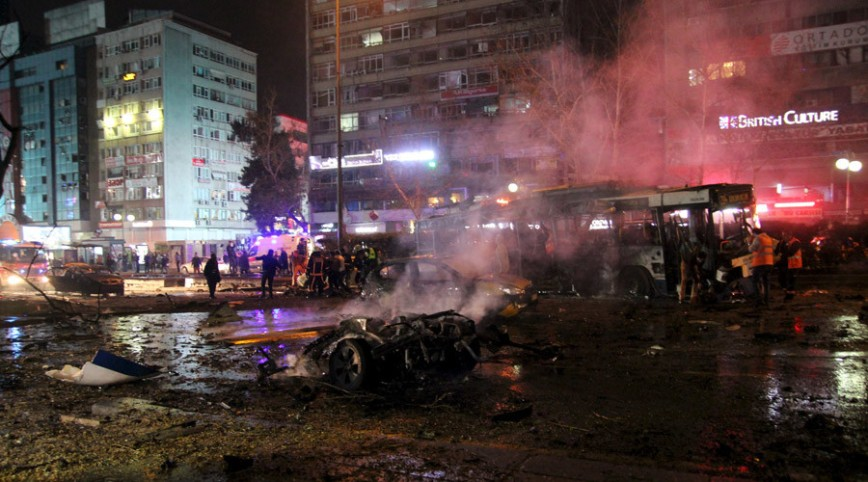 Aftermath of the latest bombing to strike Turkey in the Guvenpark bus station of the Kisilay district of Ankara.