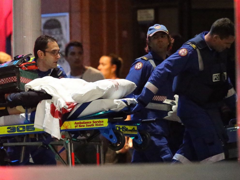 Empty stretcher with a portion of fake blood at the Sydney siege, December 2014.