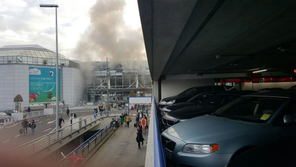Smoke and damage to the Daparture Hall of Zaventem Airport, March 22nd, 2016.